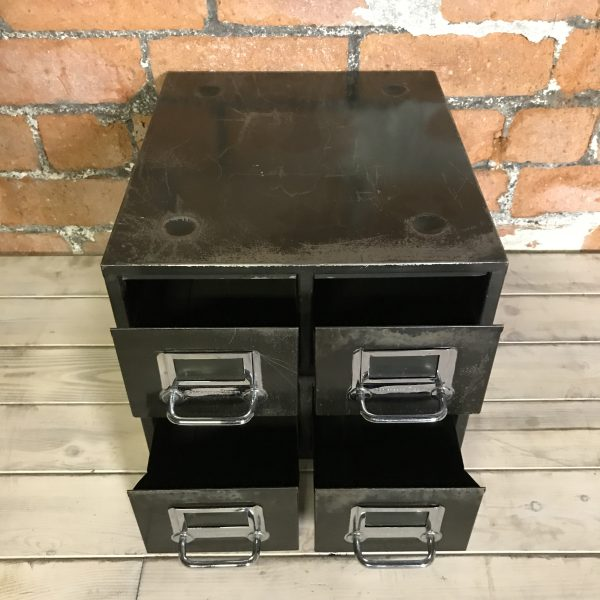 Vintage Industrial Black Engineers Filing Drawers