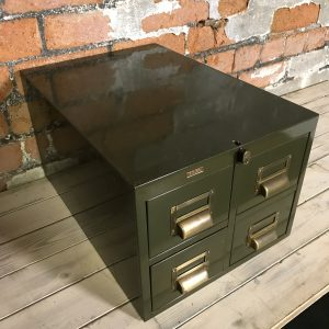 Vintage Industrial Green Engineers Roneo Vickers Filing Drawers