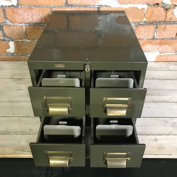 Vintage Industrial Green Engineers Roneo Vickers Filing Drawers
