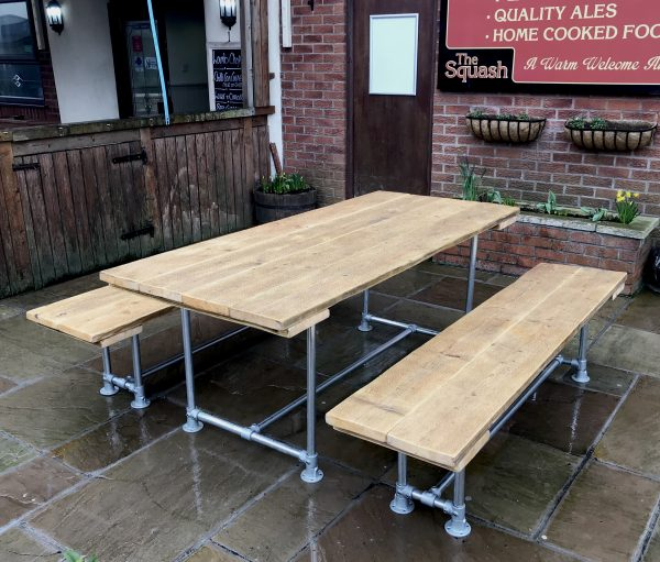 6 - 10 Seat Industrial Outdoor Garden Pub Table & Benches Patio Furniture 1