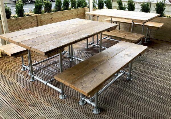 6 - 10 Seat Industrial Outdoor Garden Pub Table & Benches Patio Furniture 2