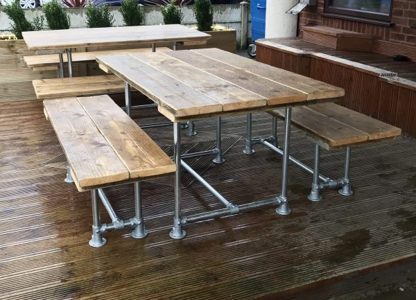 6 - 10 Seat Industrial Outdoor Garden Pub Table & Benches Patio Furniture 3