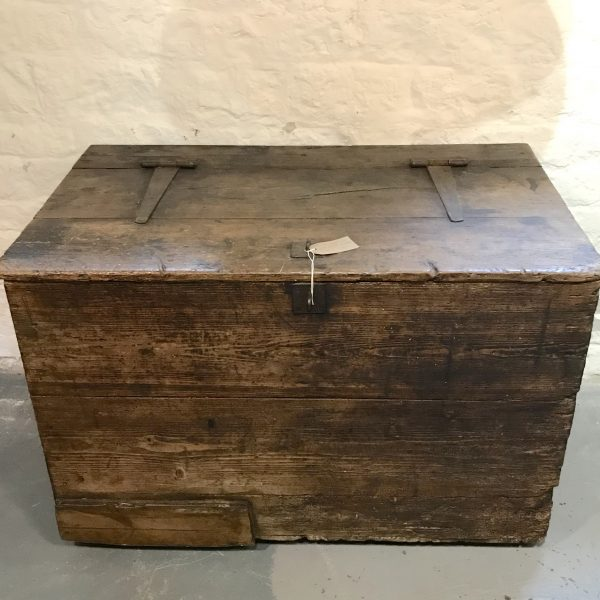 Antique Grain Chest Trunk Storage With 2 Compartments