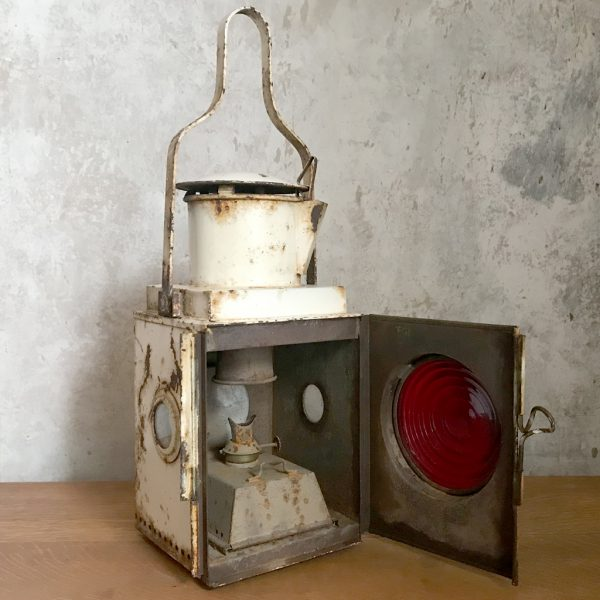 Original British railway vintage tail side train lamp