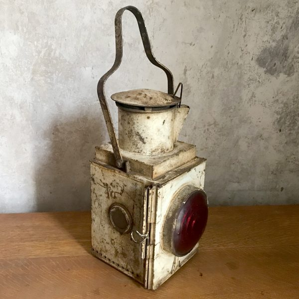 Original British vintage railway tail side train lamp