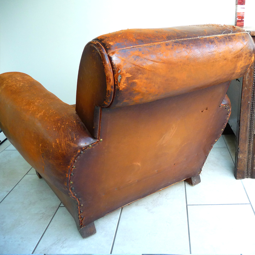 Vintage Antique Art Deco Brown French Leather Club Armchair