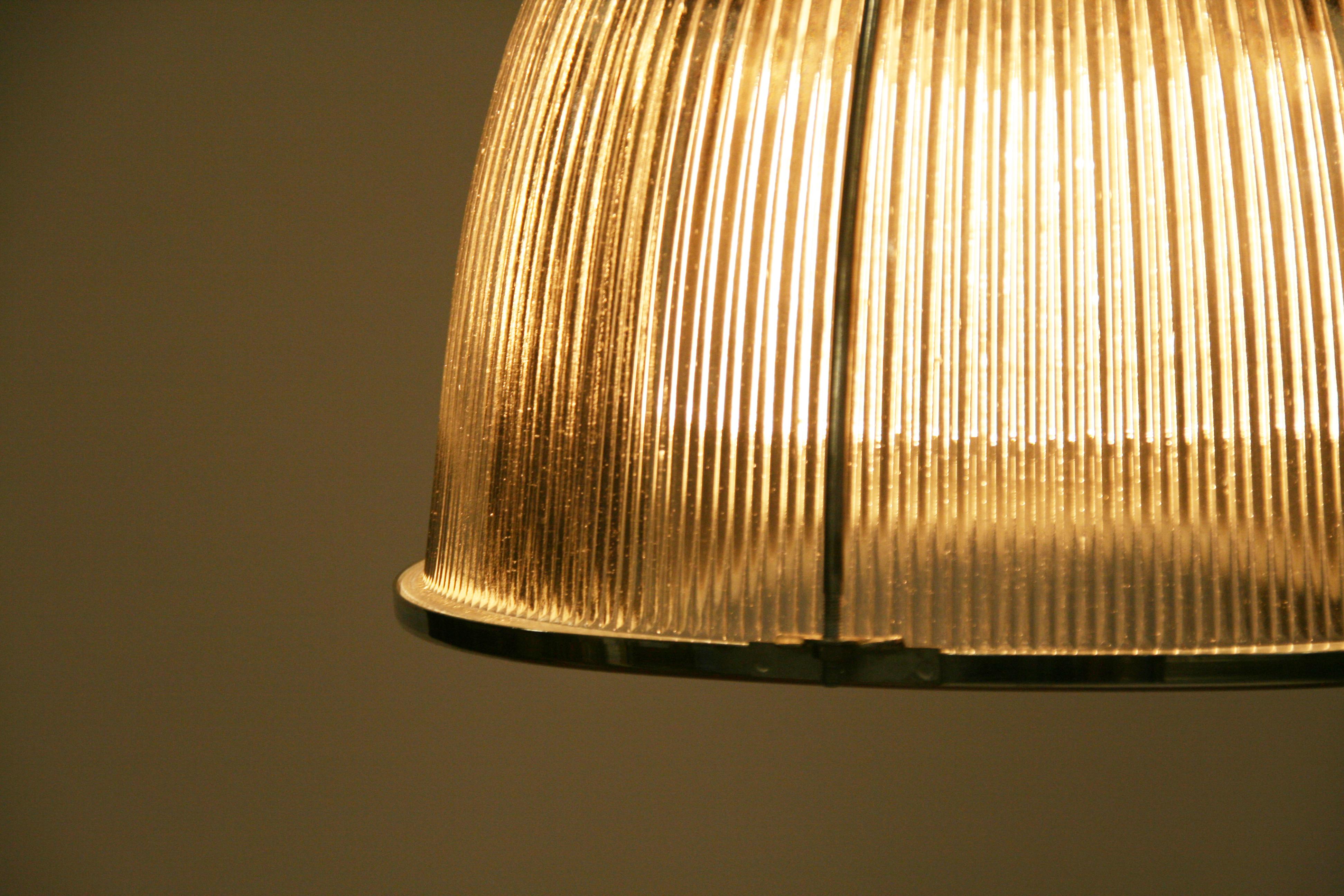 Vintage Industrial Glass Holophane Pendant Lights