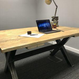 Industrial Reclaimed Scaffold Board Work Station Office Desk Metal Legs