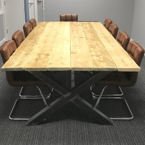 Industrial Boardroom Table. Office Conference Meeting Room Restaurant Table
