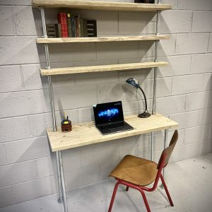 Industrial Home Office Desk With Shelves 3 Feet Wide