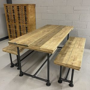 Industrial Reclaimed Scaffold Board Dining Table Steel Legs & 2 Benches Gun Metal Grey