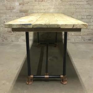 Industrial Reclaimed Scaffold Board Dining Table Steel Legs Copper