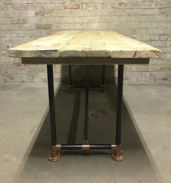 Industrial Reclaimed Scaffold Board Dining Table Steel Legs Copper