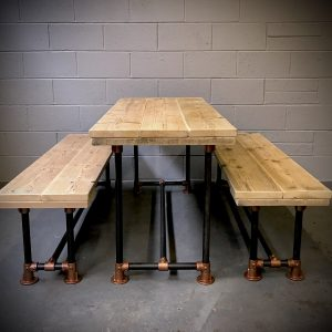 Industrial Reclaimed Scaffold Board Dining Table Steel Legs & 2 Benches Copper