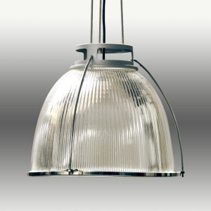 Vintage Industrial Glass Holophane Pendant Lights