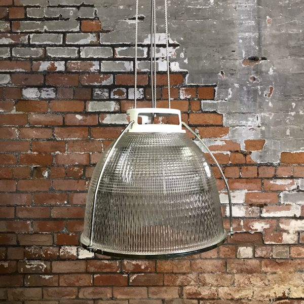 Industrial vintage glass holophane pendant light