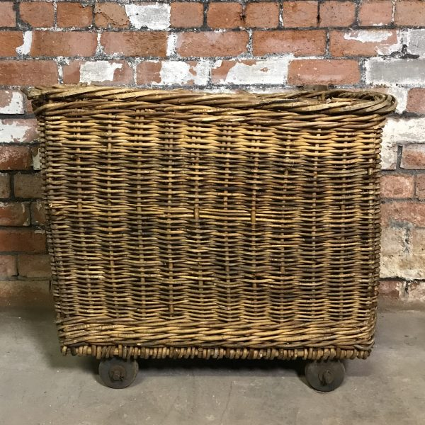 Large Vintage Old Industrial Mill Wicker Basket Logs Store