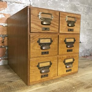 Vintage Wooden Library 6 Drawer Card Index Filing Cabinet