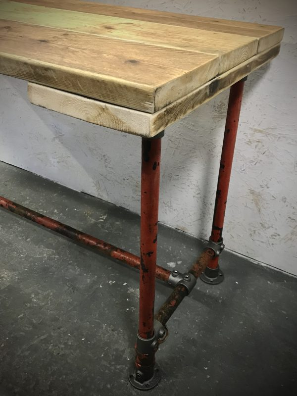 Industrial Red Sprinkler Reclaimed Scaffold Board Dining Table Steel Legs