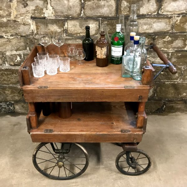 Antique Victorian house keepers trolley drinks cart