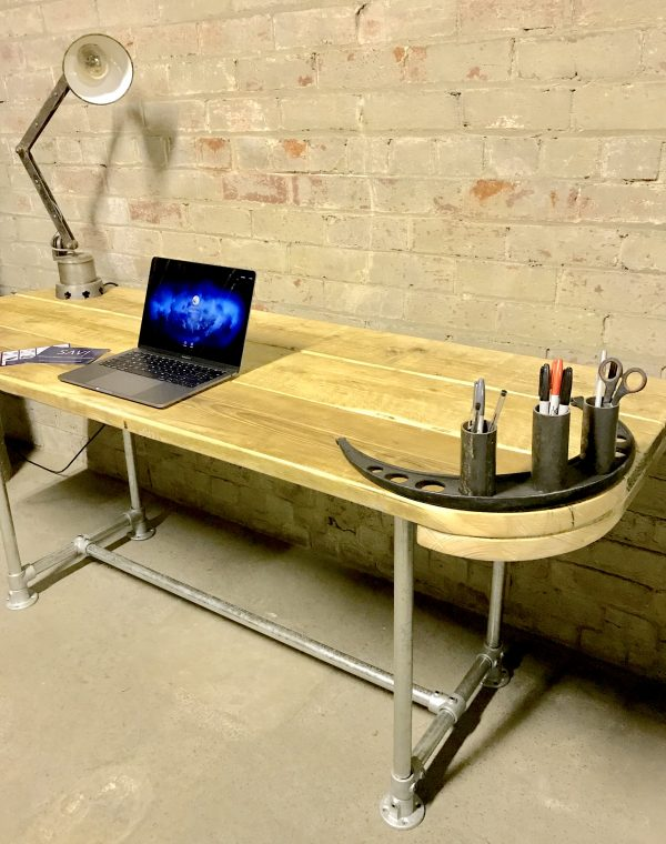 Industrial Reclaimed Scaffold Board Office Computer Desk Work Station Steel Legs