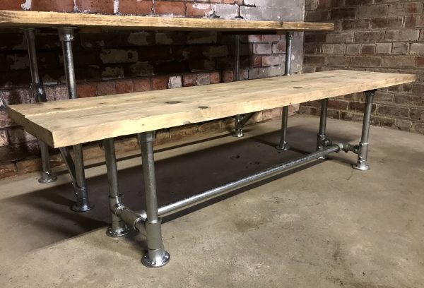 Industrial Vintage Dinning Table and 2 Benches