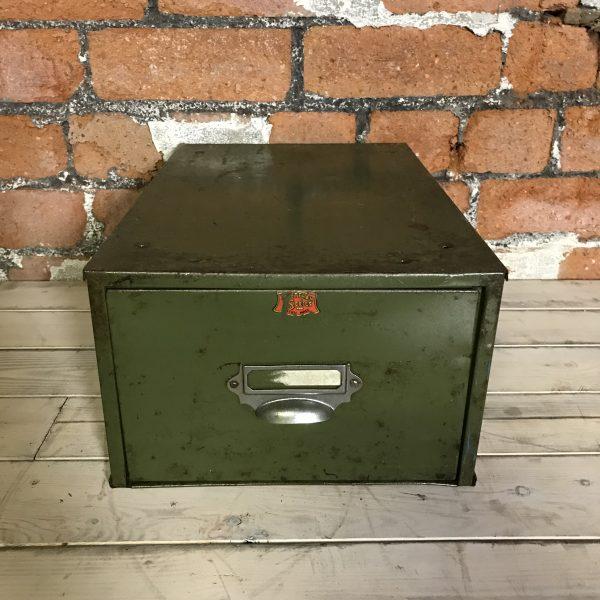 Vintage Industrial Green Engineers Veteran Filing Drawers