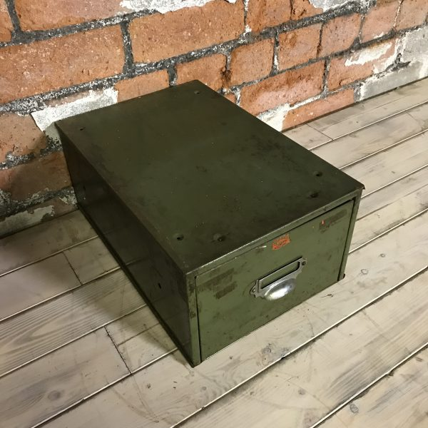 Vintage Industrial Green Engineers Veteran Filing Drawers