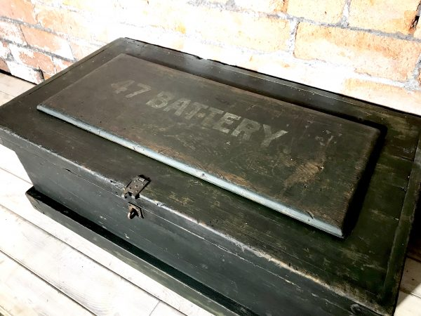 Vintage Industrial Military 47 Battery Ammo Crate Box Chest