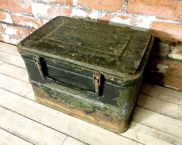 Vintage Industrial Military Green Telescope Sight Storage Metal Box Chest