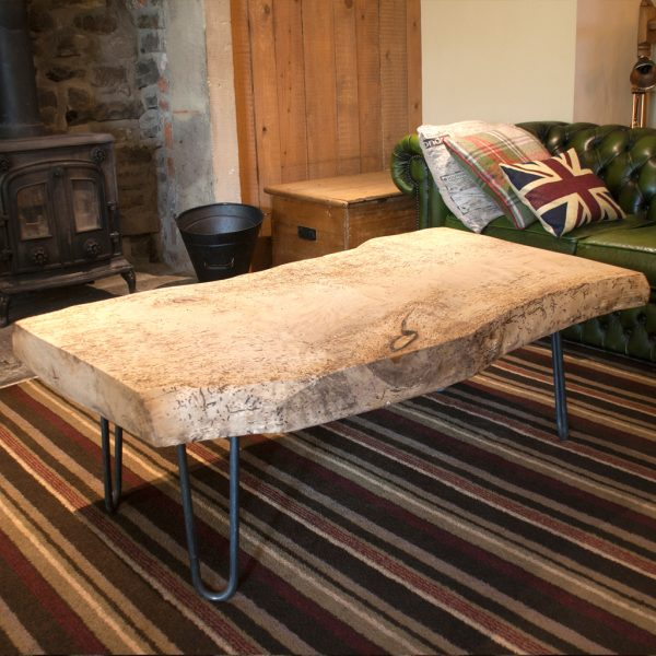 Large sycamore hardwood industrial coffee table