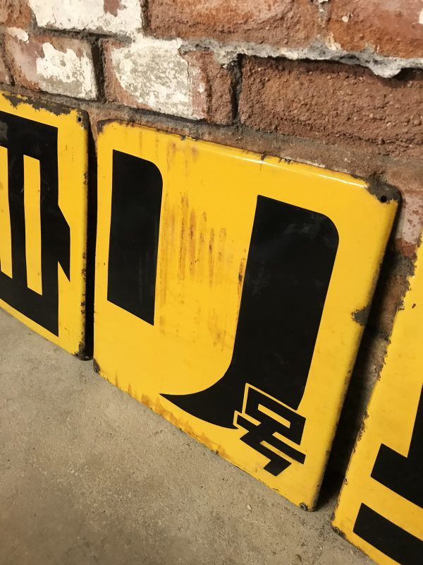 Yellow Industrial Japanese Metal Advertising Signs
